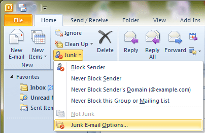 How to Whitelist Email Addresses in Outlook 2010