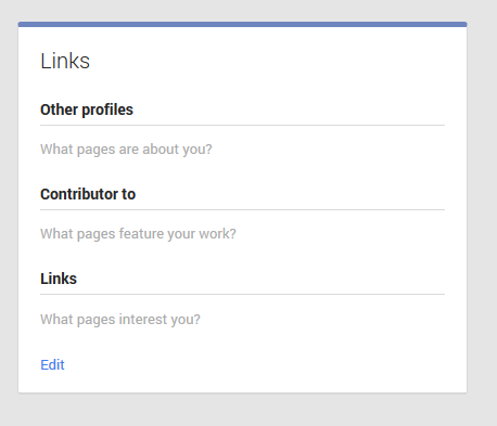 Go to the links section to add Google Authorship
