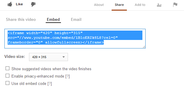 YouTube Embed Code iframe version